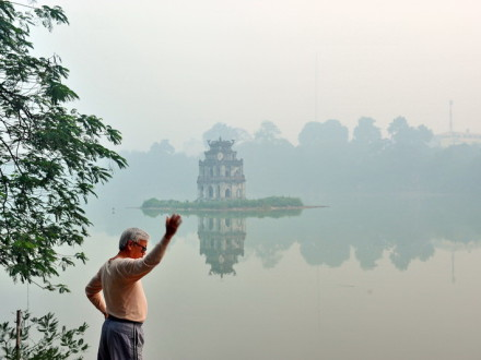 Greeting morning by Hoan Kiem Lake
