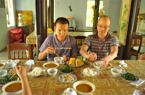 Vegetarien lunch at Dong Thien Pagoda, Hue Central Vietnam
