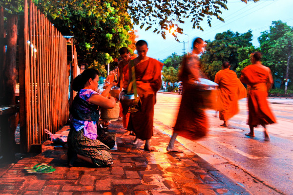 Monks in the morning lin Luang Prabang, Laos
