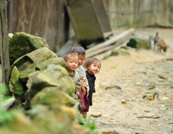 Cute chidlren playing in Lao Chai village, Sapa
