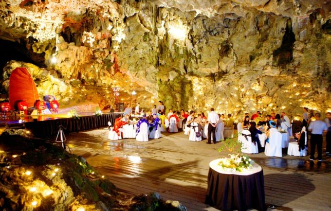 Dinner in a cave in Halong Bay, Vietnam