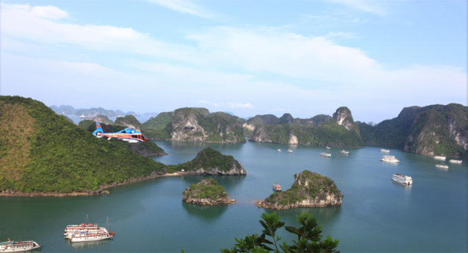 Scenic helicopter tour in Halong Bay, Vietnam