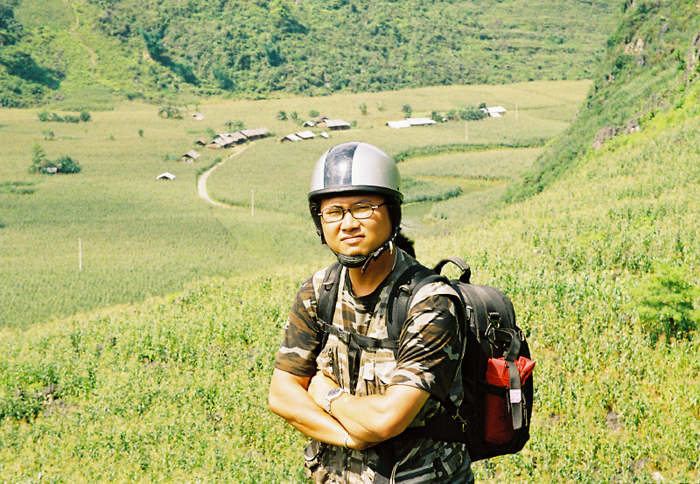 Yang at Indochina Charm Travel on his motobike tour to the North Vietnam