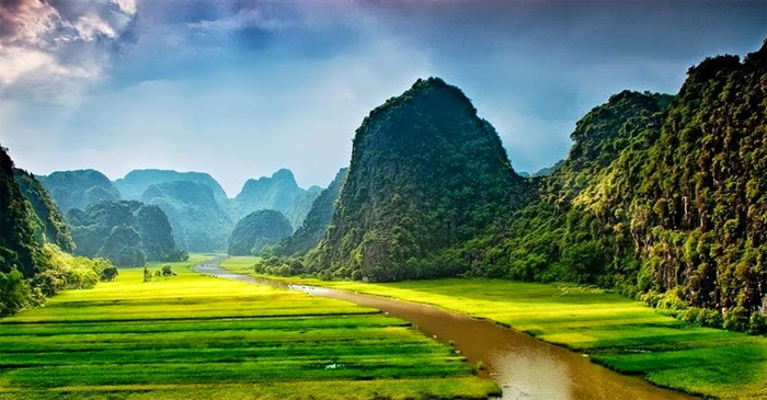 The Scenic Landscape of Tam Coc - Binh Dong in the North of Vietnam