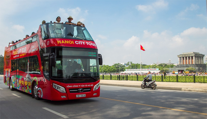 Double Decker Bus Hanoi for Panoramic Sightseeing City Tour