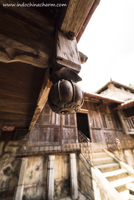 The wooden carving (from of poppy fruit) at The Palace of Hmong King in Ha Giang