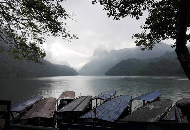 View from tourist boat pier in ba Be National Park