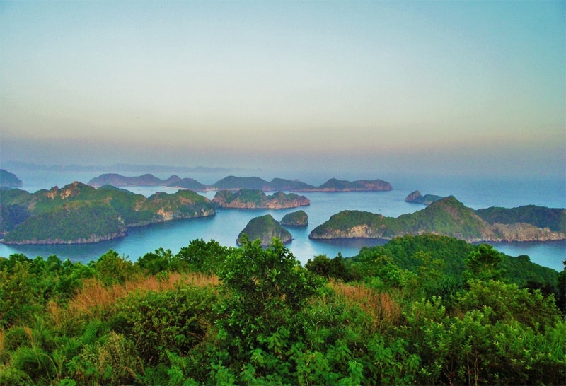 View from Cat Ba National Park over Lan Ha Bay
