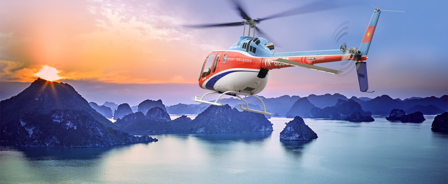 Visit Halong Bay by helicopter Bell505